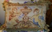 French Aubusson Antique Needlepoint Wool Tapestry Pillow Cushion Throw Cherubs