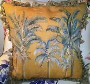 French Aubusson Antique Needlepoint Wool Tapestry Pillow Cushion Throw Palm Tree