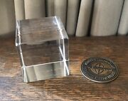 1971 Opening Disney World Fla Symphony Orchestra Crystal Paperweight Bronze Coin