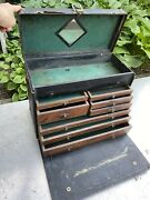 Vtg Antique Machinist Wood Tools Chest Jewelry Industrial 8 Drawer Cabinet