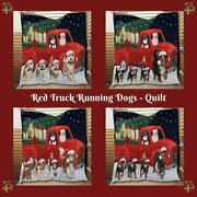 Christmas Express Delivery Red Truck Running Dog Cat Pet Lovers Quilt