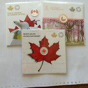 3 Pure Silver Coin - Brilliant Cherry Blossoms / This Is Canada / Hearts Aglow