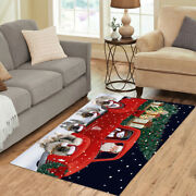 Christmas Express Delivery Red Truck Running Keeshond Dogs Area Rug