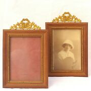 Antique Pair French Wood Bronze Top Photo Miniature Portrait Frame Late 19th