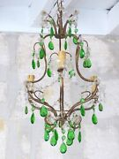 Antique Chandelier Rare Green Glass Prisms Drops Murano 1930 Vintage Ceiling