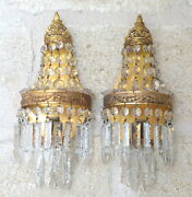 1940 Gorgeous French Cut Crystal Prisms Brass Sconces Empire Rare Chandelier