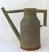 Late 19th Century Antique French Copper Watering Can Green Patina - Garden