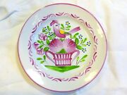 French 19th.c Luneville Pottery Bird Flowers Basket Cabinet Wall Plate 6