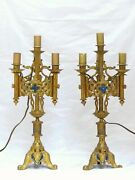 Pair French Antique Gothic Lamp Candlestick Brass And Bronze Candelabra- Late 19th