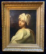 Antique Oil Painting Of Girl Created In 1850th After Guido Reni 1577 Italy.