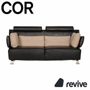 Cor Sera Leather Sofa Black Two Seater Function Couch