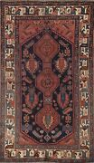 Pre-1900 Antique Geometric Oriental Area Rug Wool Hand-knotted 4x7 Foyer Carpet