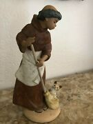 Lladro 2203 Monk W/cat Figurine Afternoon Chores Matte Finish -gres - Mint