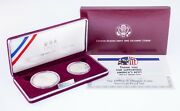 1992 Silver Proof Us Mint Olympic Coin Set Silver Dollar And Clad Half Dollar