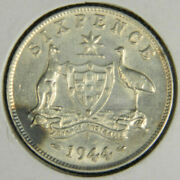 1944 S Australia Sixpence .925 Silver World Coin