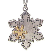 Christmas Snowflake Pendant Necklace Silver New