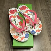 Kate Spade Womens Nova Flip Flops Petunia Pink Floral Bow With Charms New