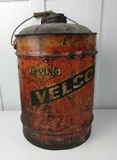 Antique Vintage Irving Velco Oil Gas Service Station Metal Can Wood Handle Rare