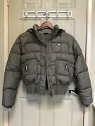 Nike Army Gray Puffer Jacket W/ Zip Pockets- Womenand039s Size Med 8-10 Euc