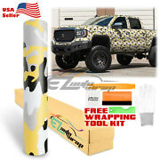 Yellow Black White Gray Camouflage Camo Vinyl Sticker Wrap Decal Air Release