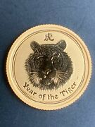 2010 Australia Lunar Ii Year Of The Tiger 1/10 Oz Gold Coin 15 Rare Low Mintage