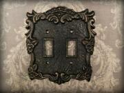Metal Double Light Switch Plate Cover Old World Tuscan Medieval Fleur De Lis