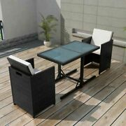 Vidaxl Bistro Set With Cushions 3 Pieces Poly Rattan Outdoor Multi Colors