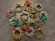 Vintage To Now Christmas Jewelry Lot 14 Wreath Pins Brooch