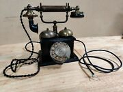 Antique Lm Ericsson Stockholm Rotary Wood Desk Phone 2-wire Rotary Modified