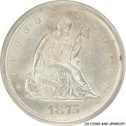 1875-s Liberty Seated Twenty Cent Piece 20c White Pcgs Ms60 Old Green Holder