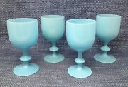 4 Lot Portieux Vallerysthal French Blue Opaline Glass Water Wine Goblets 6.5