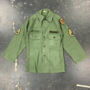 13.5x30 Us Army Sateen Cotton Field Shirt Xs 1964 60s Vietnam Og107 Ssi Division