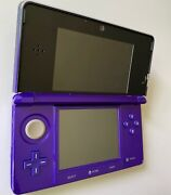 Hardly Used Nintendo 3ds Console Midnight Purple W Stylus And Sd Card Near Mint