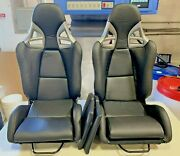 Gt 997 Style Pu Leather Recline Racing Seat Carbon Fiber Back Pair Open Box