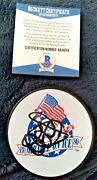 Al Michaels Miracle On Ice 1980 Usa Olympic Gold Signed Puck Believe Beckett Bas