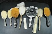 Lot Of 10 Antique Vintage Combs Hair Brush And Hand Mirror Victorian Art Nouveau