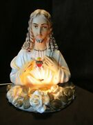S.s. Mich. Corp. Chalkware 1950andrsquos Christ Jesus Tv Table Lamp Mantle Usa 15andrdquot