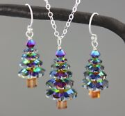 Color Changing Crystal Christmas Tree Sterling Silver Necklace + Earrings Set