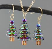 Handmade Color Changing Crystal Christmas Tree Gold Necklace And Earring Set