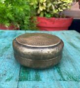 Antique Handcrafted Brass Indian Kitchenware Container Box With Engraved Lid