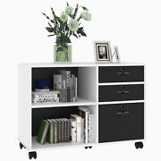 Wood File Cabinet 3 Drawer Mobile Lateral Filing Storage Shelf Lock Office Home