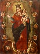 Our Lady Of The Rosary. Oil On Canvas. Original Frame. Catalunya. Spain. Xviiith