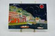 Capri Italy Hand Painted Tile Wall Plaque 7.75 X 5.5 Landscape Ocean Boats