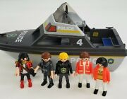 Vintage Playmobile Police Jet Boat 13andrdquo Vehicle With Officer Mini Figures 1984