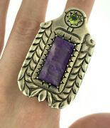 Vintage Lavender Purple Jade And Peridot Statement Ring Sterling Silver Size 9