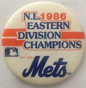 """1986 New York Mets National League Eastern Division Champions 3"""" Pinback Button"""