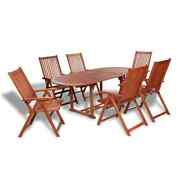 7 Pcs Patio Garden Outdoor Acacia Wood Dining Table 6 Chairs 5 Position Foldable