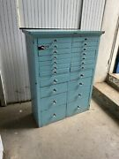 Antique 1900s Dental Cabinet Industrial Apothecary Multi Drawer Industrial Teal