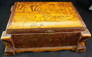 Carved Wooden Tramp Art Jewelry Box Scene With Lady On Top Lift Out Tray And More