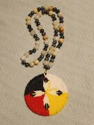 Native American Beaded Medicine Wheel Medallion W/ Quills And Gem Stone Necklace